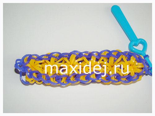 как сделать браслет из резиночек звезда