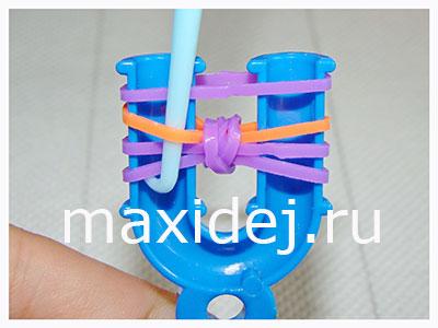 как сделать браслет бантик на рогатке