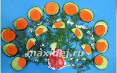как сделать павлина из овощей