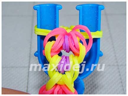 плетение браслета Арника из резинок
