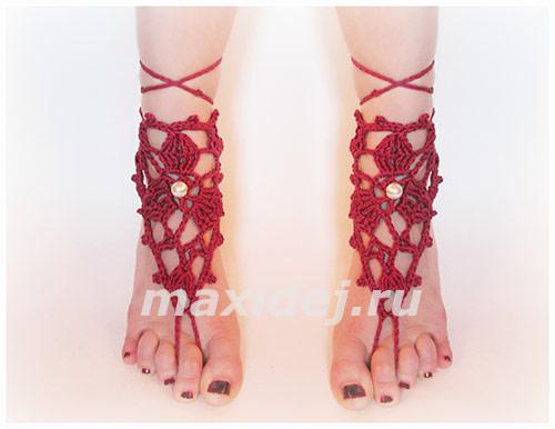 украшение на ногу крючком
