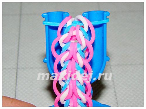 как делать браслеты из резинок на рогатке
