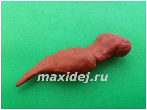 лепим динозавра из пластилина пошагово