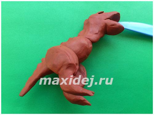 как лепить динозавров из пластилина