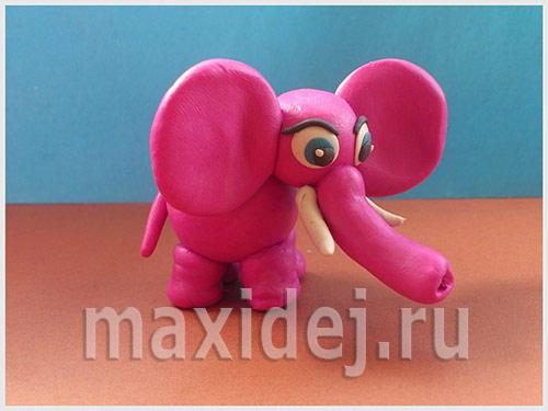 как сделать из пластилина слона