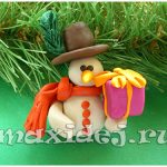 снеговик из пластилина своими руками