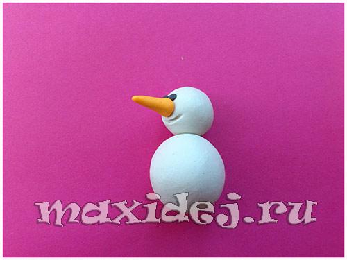 снеговик из пластилина мастер класс