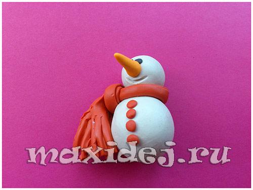 снеговик из пластилина для детей